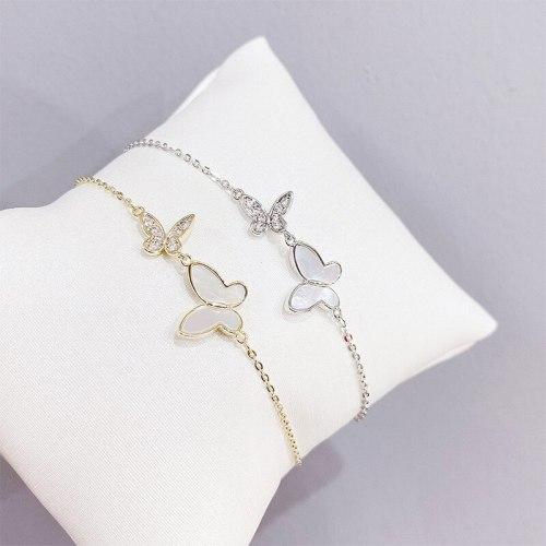 Popular Shell Butterfly Bracelet Korean Style Women's Bracelet Electroplated Real Gold Bracelet Gift Ornament