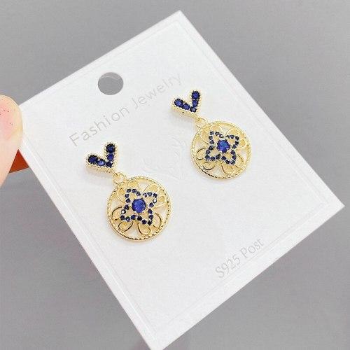 Korean New Zircon Micro-Inlaid Peach Heart Sterling Silver Needle Ear Studs Clover Earrings Fashion Earrings Fashion