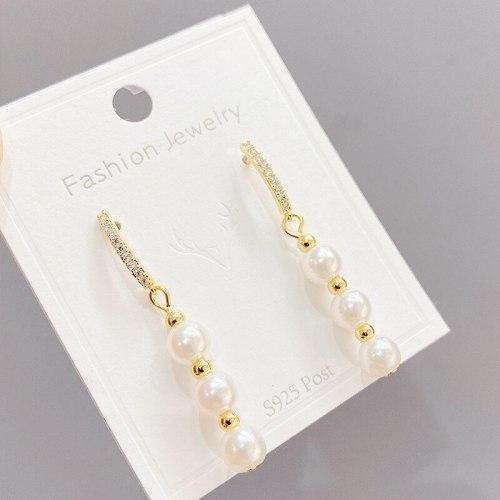 Internet Influencer Earrings Korean 925 Silver Stud Earrings Temperament Long Pearl Eardrops Personality Tassel Earrings