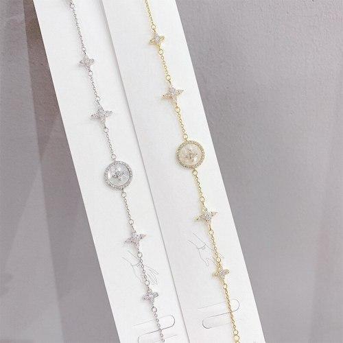 Bracelet Women's Micro Inlaid Zircon Cross White Shell Bracelet Hot Selling Bracelet Korean Style Design Bracelet Bracelet