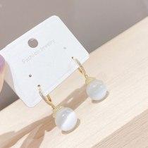 New Trendy High-Grade Elegant Geometric Opal Pendant Ear Clip Simple Wild Earrings Women
