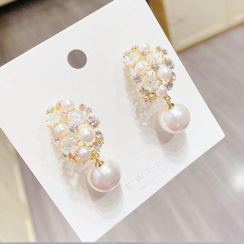 Sterling Silver Needle Shell Tide Super Flash Pearl Garland Temperament Stud Earrings Trendy Earrings Women