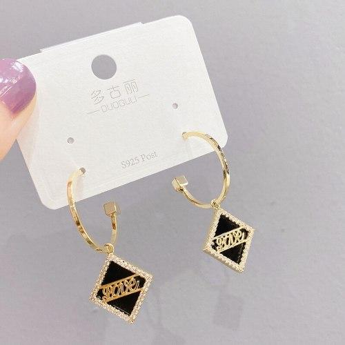 European and American Fashion Geometry Pattern Rhombic Ear Studs Sterling Silver Needle Alphabet Letter Earrings Earrings
