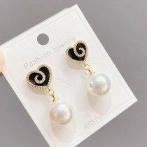 Sterling Silver Needle Micro Inlaid Zircon Peach Heart Stud Earring Women's Light Luxury Minority Design Pearl Earrings Earrings