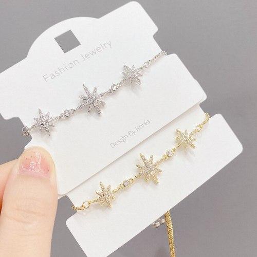 Special-Interest Design Eight Awn Star Zircon Bracelet Super Girl Snowflake Adjustable Draw Bracelet Hand Jewelry
