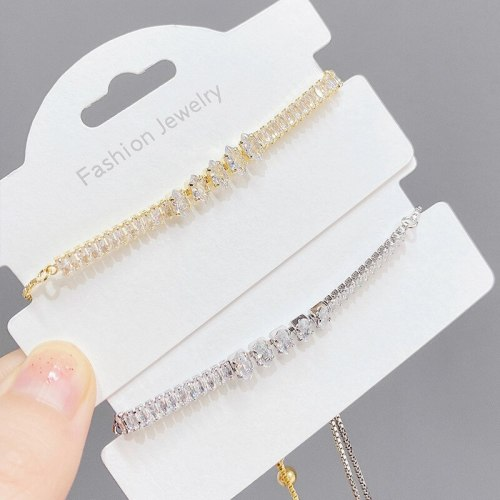 Best Seller in Europe and America New Fashion Micro Inlaid Zircon Bracelet Simple Pull Adjustable round Claw Chain Bracelet
