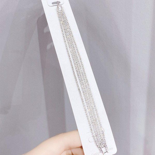 New Korean Style Creative and Refined Jewelry Micro Inlaid Zircon Shiny Single Row Curved Bracelet Jewelry