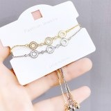 New Adjustable Pull Bracelet Electroplated Real Gold Platinum Shell Ring Ornament