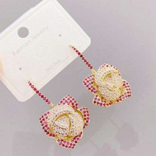 Sterling Silver Needle European and American Fashion Splendid Diamond Rose Petals Ear Studs Refined Rhinestone Earrings Earrings