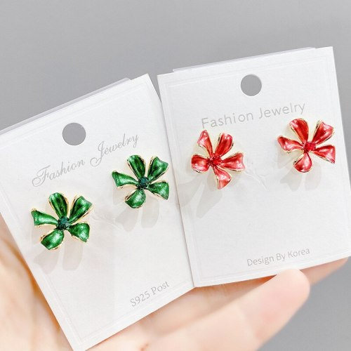 Korean Style New Sterling Silver Needle Colorful Four-Piece Petal Stud Earrings Flower Earrings for Women