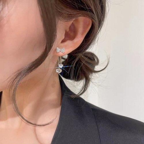 Korean Zircon Bow Tassel Earrings Elegant All-Match Earrings Sterling Silver Needle Earrings