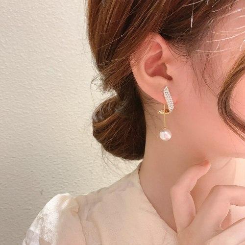 Pearl Stud Earrings for Women Sterling Silver Needle Fine Zircon-Embedded Earrings One Style for Dual-Wear Eardrop Earring