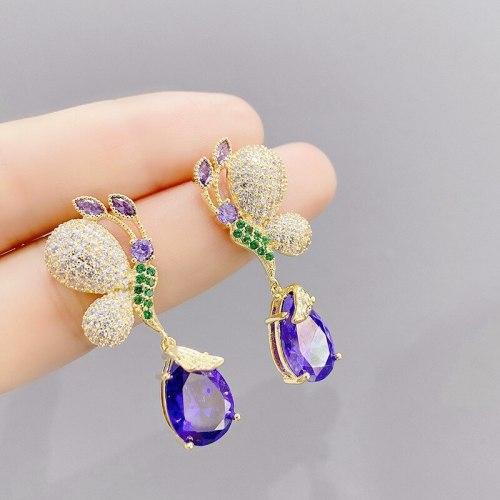 Simple Butterfly Earrings European and American Earrings Female S925 Auricular Needle Earrings Zircon Earrings