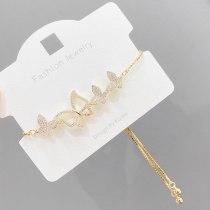 Korean Style Fashion Accessories Simple Xiaoqing Xinwei Inlaid Zircon Bracelet Female Opal Butterfly Pull Bracelet Hand Jewelry