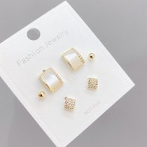 One Card Three Pairs Combination Set Fashion Three-Piece Set Storage Ear Studs Sterling Silver Needle Earrings for Women