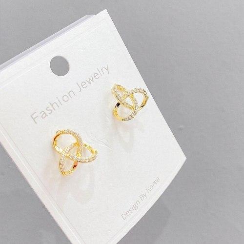 Korean Style 925 Silver Needle Zircon Hollow Flower Earrings Petal Fresh Earrings Ear Studs Earrings