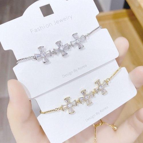 New Cross Zircon Bracelet Adjustable Pull Bracelet Korean Fashion Bracelet Women's Jewelry Ornament