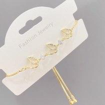 Korean Style Simple Micro Inlaid Zircon Pull Bracelet Female Butterfly Bracelet Copper Plated Real Gold Adjustable Bracelet