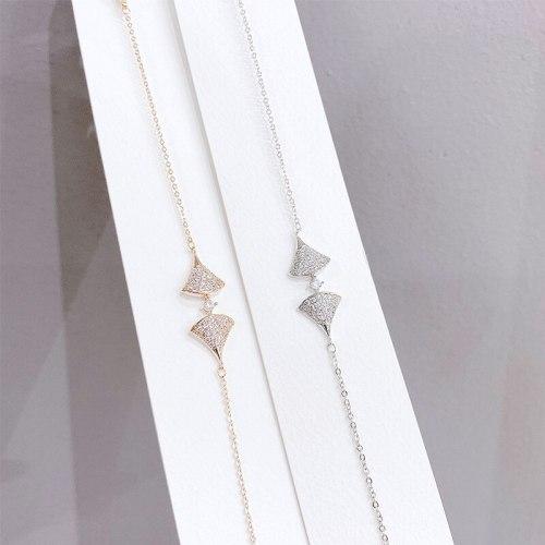 Fashion Small Skirt Full Diamond Bracelet Ins Style Internet Celebrity Fan Bracelet Female Accessories