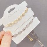 Korean New Graceful and Fashionable Micro Inlaid Zircon Bracelet Female Geometric Popular Elegant Pull Bracelet
