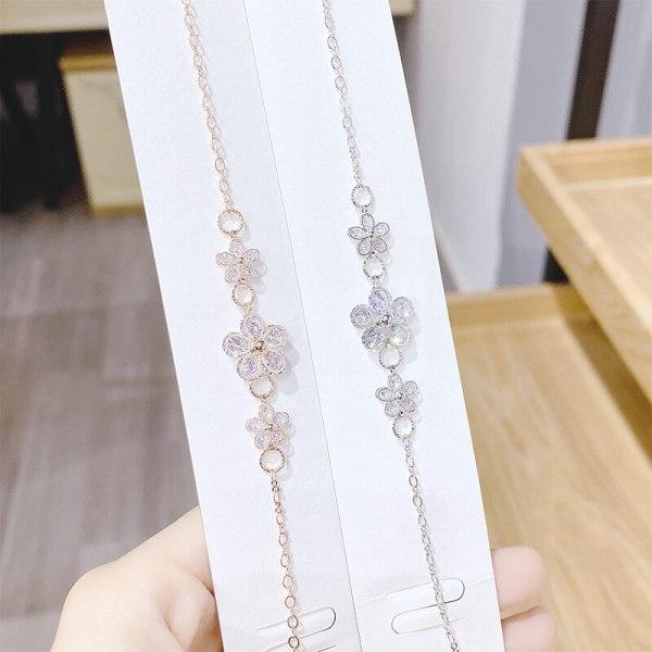 Korean Fashion Small Fresh Diamond Flower Cutout Five Petal Flower Bracelet Micro Inlaid 3A Zircon Jewelry Female Accessories