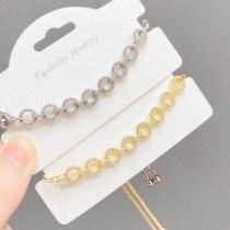Korean Style Micro Inlaid Zircon Circle Pull Bracelet Fashion Simple New Adjustable Bracelet