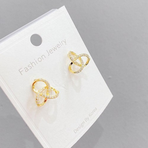 Real Gold Plated Sterling Silver Needle Earrings Korean Shell Letter Bear Ear Studs Personality Wild Earrings