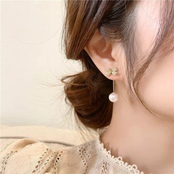 Korean Sweet Cute S925 Pearl Bow Stud Earrings Elegant Tassel Earrings Earrings for Women