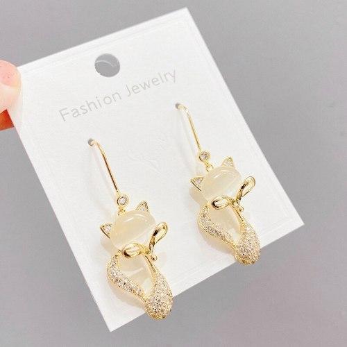 Sterling Silver Needle High-Grade Opal Stone Ear Studs Female Fox Earrings Sweet Temperament Long Zircon Earrings