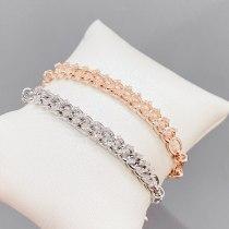 Zircon Twist Bracelet for Women Twisted String Chain Hemp Flowers Chain Real Gold Plated Bracelet Jewelry