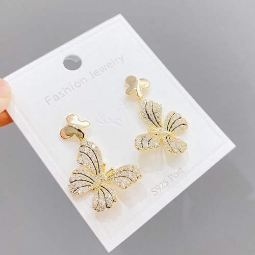 Sterling Silver Needle Full Diamond Butterfly Earrings Retro Fashion Earrings Fairy Temperamental Personalized Earrings