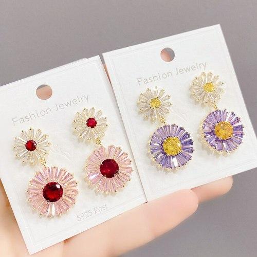 New Exaggerated Earrings Vintage Blue Heavy Industry Gradually Varied Pink Zircon Rainbow Sterling Silver Needle Earrings