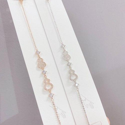Korean Fashion Gourd Bracelet Female Hollow Micro Inlaid Zircon Real Gold Plating Bracelet Simple Hand Jewelry