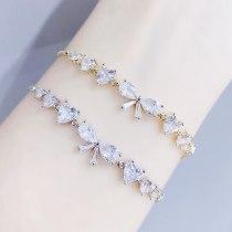 New Bracelet Female Pull 3A Zircon Bow Women's Bracelet Korean Bracelet Electroplated Real Gold Bracelet Ornament