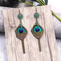 New Bohemian Fashion Vintage Earrings Female Temperament Peacock Feather Earrings Long Holiday Accessories Wholesale