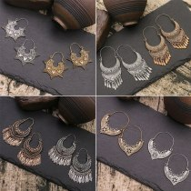 Europe and America Cross Border Metal Alloy Earrings Women Vintage Geometric Earrings Silver Gold Leaf Earrings