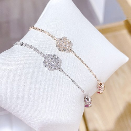 New Rose Bracelet Full Diamond Flower Bracelet Female Environmental Protection Electroplated Real Gold Hand Jewelry