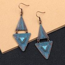 Retro Metal Alloy Earrings Women's Creative Geometric Earrings Turquoise Accessories European and American Popular Ornament