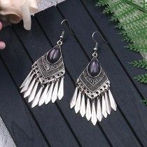 Hot Sale European and American Fashion Rhombus Alloy Earring Female Creative Retro Silver Tassel Earrings Creative Ornament