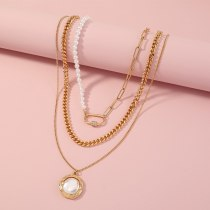 European and American New Retro Exaggerated Necklace Personalized Pearl Pendant Necklace Metal Multi-Layer Necklace