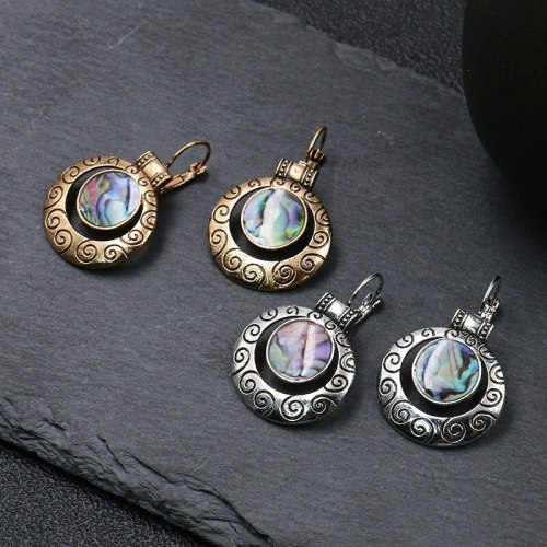 Cross-Border in Europe and America Gold and Silver Luxurious Exaggerating Earrings Vintage Distressed Earrings Fashion Earrings