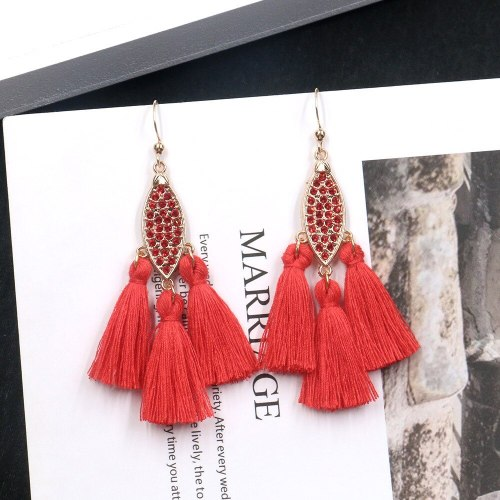 Korean Style Popular Gold Rhinestone Earrings Long Fringe Pendant Earrings Personality Simple Jewelry Wholesale