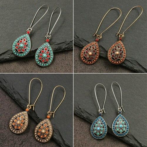 Ornament European and American Popular Cross-Border Hot Sale Bohemian Fashion Silver Water-Drop Eardrops