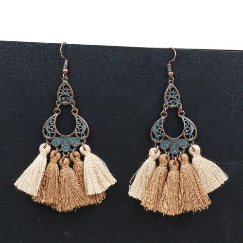 Cross-Border Hot Sale Ornament New Retro Ethnic Earrings Wool Tassel Pendant Earrings Eardrops