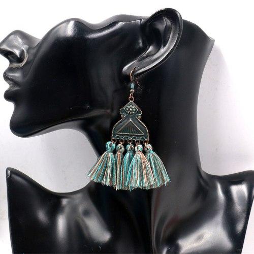 Retro Rhombus Alloy Earring Women's Popular Long Fringe Earrings Women's Exaggerated Jewelry Wholesale Cross-Border Hot Sale