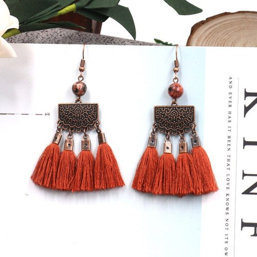Hot Sale Tassel Earrings Wholesale European and American Popular Ornament Natural Agate Accessories Women's Ornament Wholesale