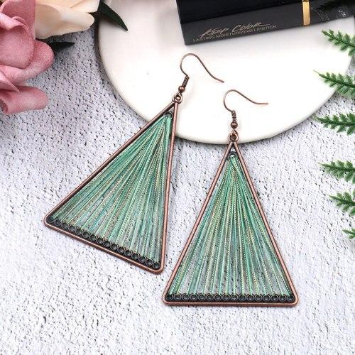 European and American Triangle Metal Alloy Earrings Creative Hand Weaving Earrings Bohemian Fashion Hollowed-out Ornament