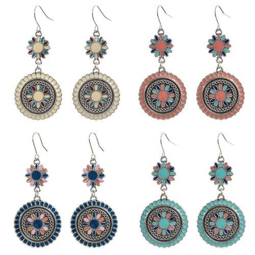 Korean Style Fresh And Beautiful Earrings Creative Carving Flowers Print Dripping Oil Earrings Eardrops All-Matching Women