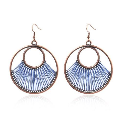 European and American Original Hand-Woven Earrings Fashion Big Circle Earrings Women Bohemian Hollow Exaggerated Jewelry