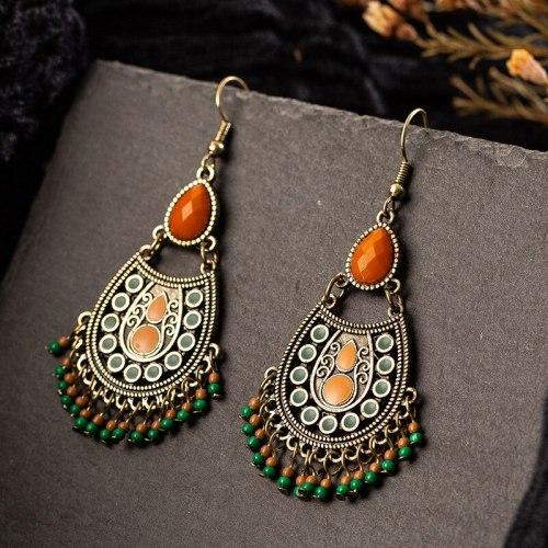 Bohemian Ethnic Earrings Stylish Water Drop Earrings Bead Accessories Long Tassel Earrings